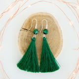 Emerald green long silver tassel earrings