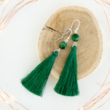 Deep Green long dangling tassel earrings