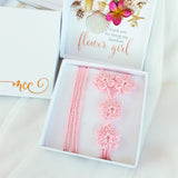 Pink flower girl beach wedding barefoot sandals in a gift box