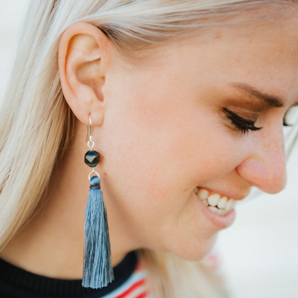 Jeans blue long dangle tassel earrings with stone bead