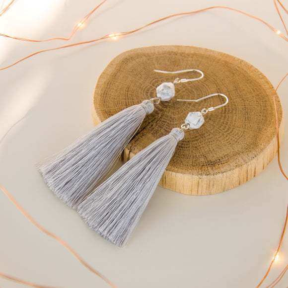 Silver Gray Long Dangle Tassel Earrings, Bridesmaids Gift for Boho Wedding