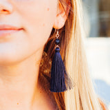 Midnight Blue Long Tassel Earrings