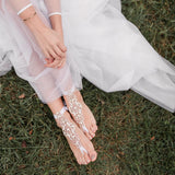 Beach wedding barefoot bride foot jewelry