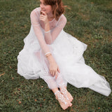 Summer backyard wedding bridal shoes