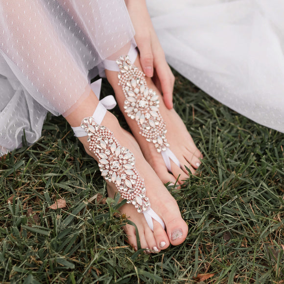 Opal Crystals Eloped Wedding Bridal Gift, Rose Gold Barefoot Sandals Beach Wedding Foot Jewelry