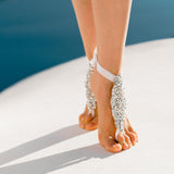 White crystal bridal barefoot sandals for beach weddings