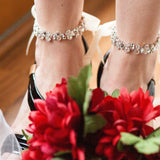 White and ivory bridal foot jewelry