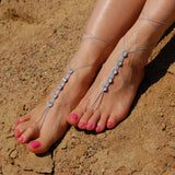 Silver Swarovski barefoot sandals with long strings