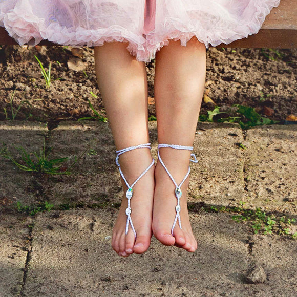 Flower girl Simple Swarovski barefoot sandals