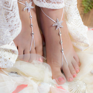 Crystal Starfish anklet foot jewelry for beach wedding bride