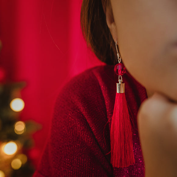 Christmas Red Long Dangling Earrings with Swarovski Crystals