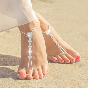 Swarovski crystals barefoot sandals with beaded flower element