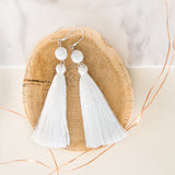 Long Tassle Earrings in White with Marble Stone Bead, Bridesmaids Gift