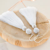 Close up for Long Tassle Earrings in White with Marble Stone Bead