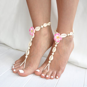 Seashells, beads and pink flower barefoot sandals