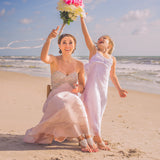 beach wedding bridesmaid and flower girl barefoot sandals