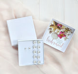 bridesmaid gift box with Swarovski barefoot sandals and studs
