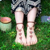 brown heart boho barefoot sandals for outdor activities