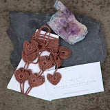 brown heart barefoot sandals, mcc card and agate