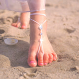 flower girl swarovski barefoot sandals