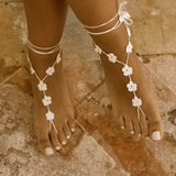 Flower barefoot sandals for a beach wedding front view