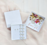 flower girl gift box with Swarovski barefoot sandals and studs