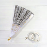 folded pearl gray bridal hand fan