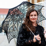 Goth girl with a black lace victorian umbrella
