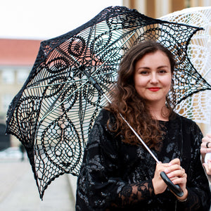 girl with a black lace umbrella