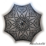 black lace umbrella top view