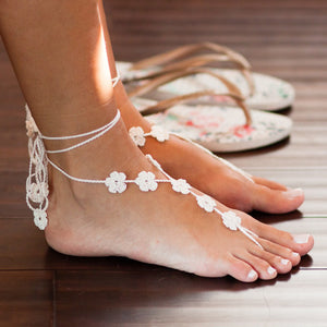 Flower crochet barefoot sandals foot jewelry