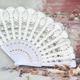 bridal ivory lace hand fan