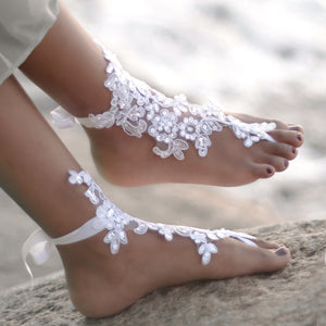 Lace barefoot sandals foot jewelry for a beach wedding