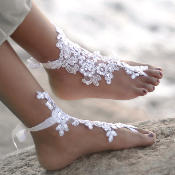 Wedding Crystal Bridal Barefoot Sandals Foot Jewellery Shoes Thongs Anklet Beach