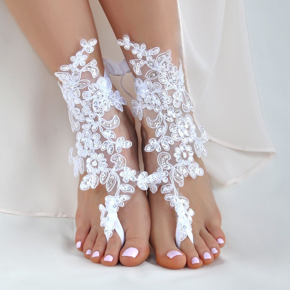 6bf3066c1fbe ... bride with mother · Lace barefoot sandals foot jewelry for a beach  wedding ...