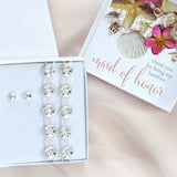 maid of honour gift box with Swarovski barefoot sandals and studs