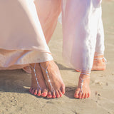 Bridesmaids Barefoot Sandals, Simple Swarovski Bridal Foot Jewelry