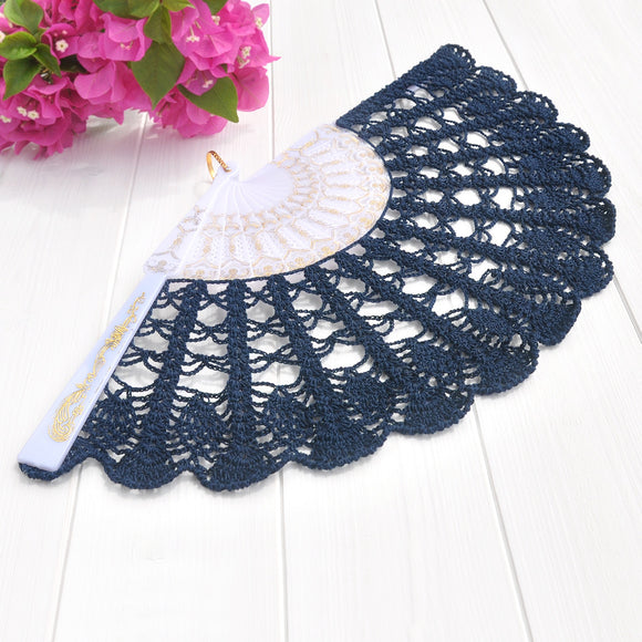 Navy blue wedding hand fan on a white and gold handle