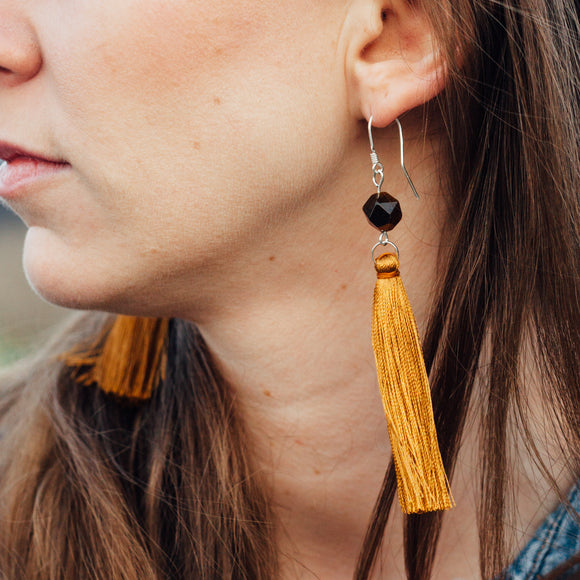 Ochre Brown Long Dangle Tassel Earrings, Christmas Gift for Girlfriend