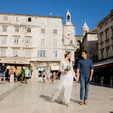 Boho wedding couple in the city of Split