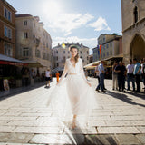 Boho barefoot bride in Split
