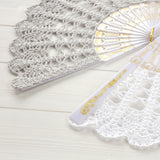 pearl gray and white lace hand fan