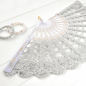 pearl gray lace hand fan