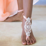 Barefoot Rhinestone Crystal Bridal Sandals for Beach Weddings
