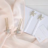 crystal starfish wedding hair pins and barefoot sandals