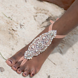 Rose gold rhinestone bridal barefoot sandals