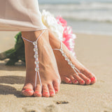 Swarovski crystals barefoot sandals in white