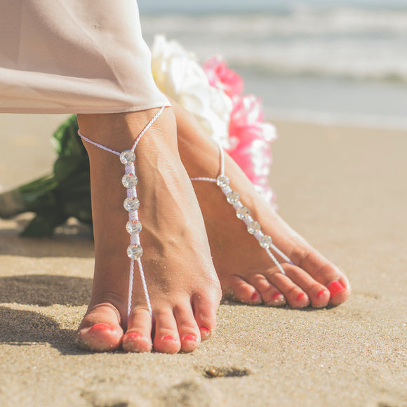 Swarovski crystals beach wedding foot jewelry