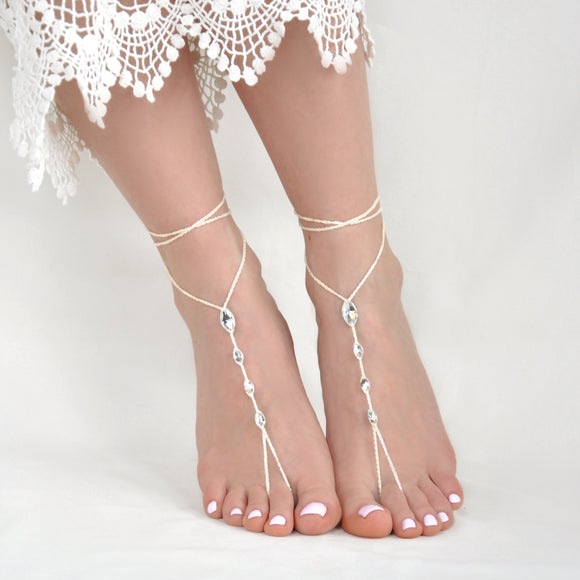 Simple ivory barefoot sandals with Swarovski crystals
