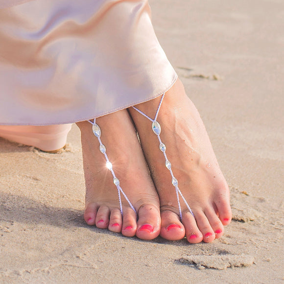 Simple Swarovski barefoot sandals